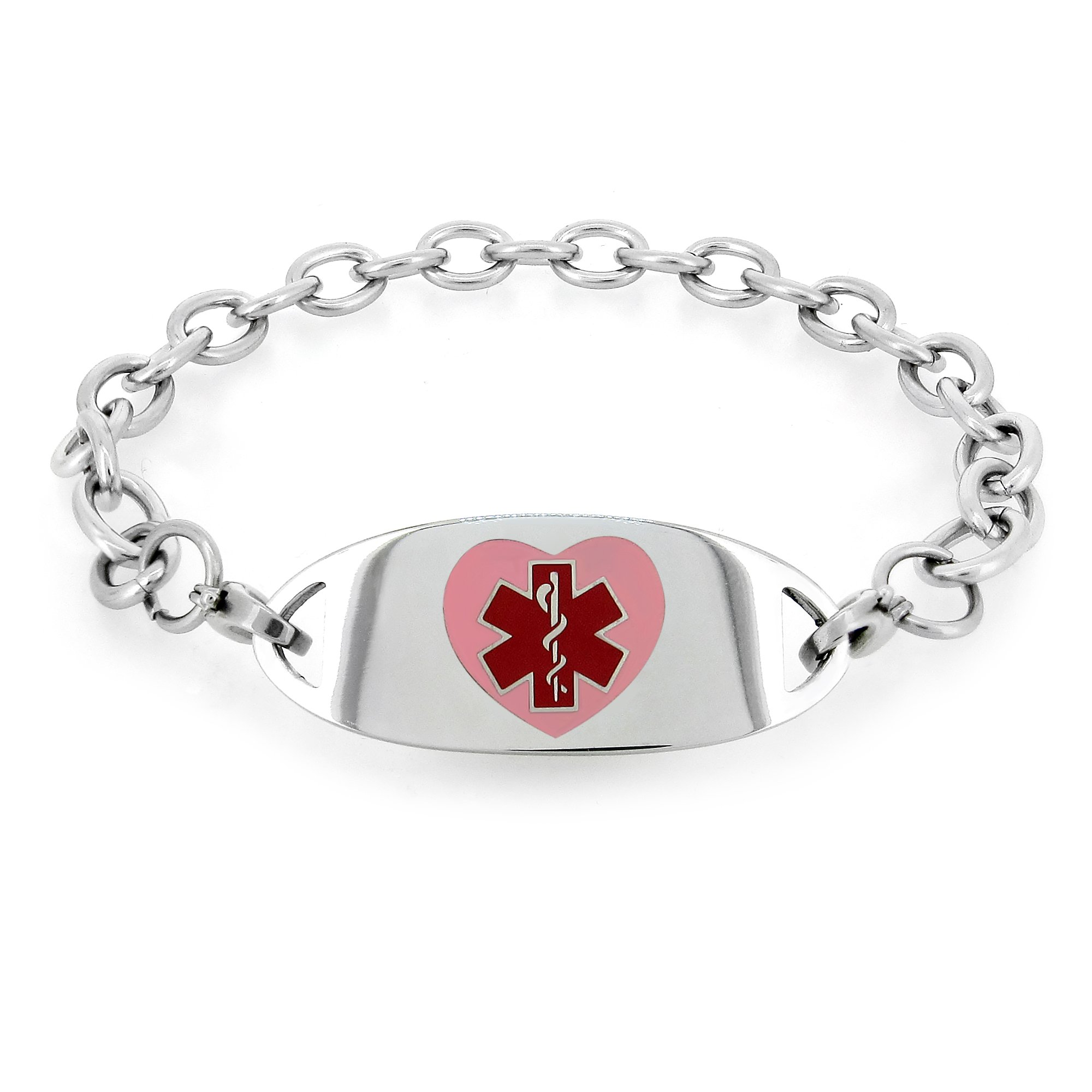 Sterling Silver Round Enameled Medical Identification Emergency Charm